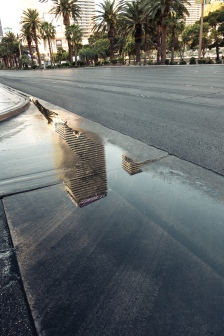 Get up early, catch the street-cleaners and see an unusual sight; puddles (of water) in Vegas!